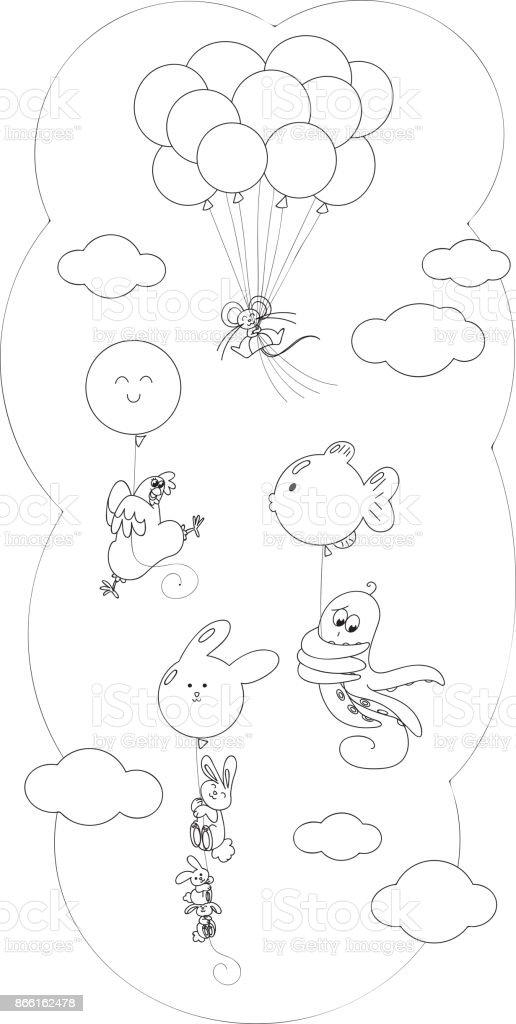 Uçan Balon Ile Boyama Hayvanlar Stok Vektör Sanatı Ahtapot
