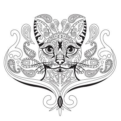 Coloring antistress cat 2