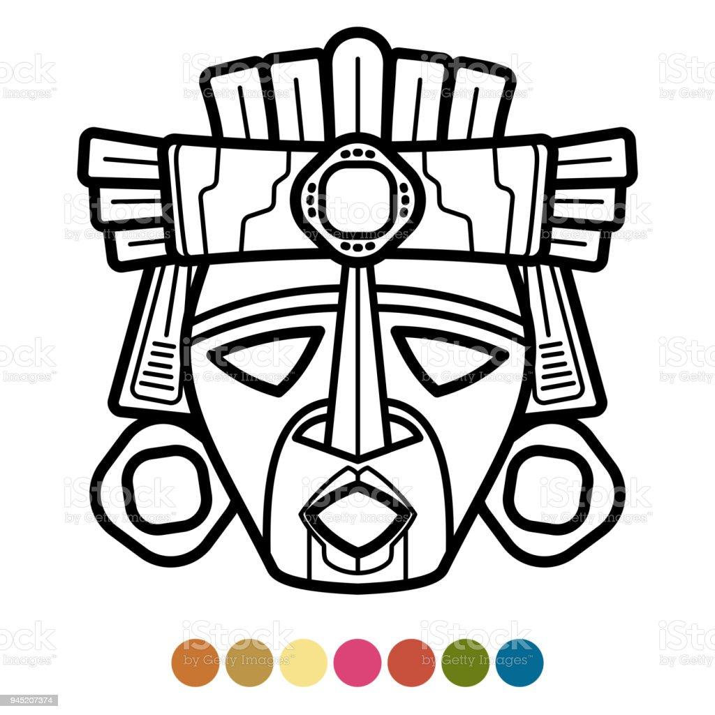 Boyama Atzec Afrika Meksika Maskesi Stok Vektör Sanatı Abdnin