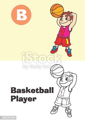 coloring basketball player for children - proffesion illustration for kids
