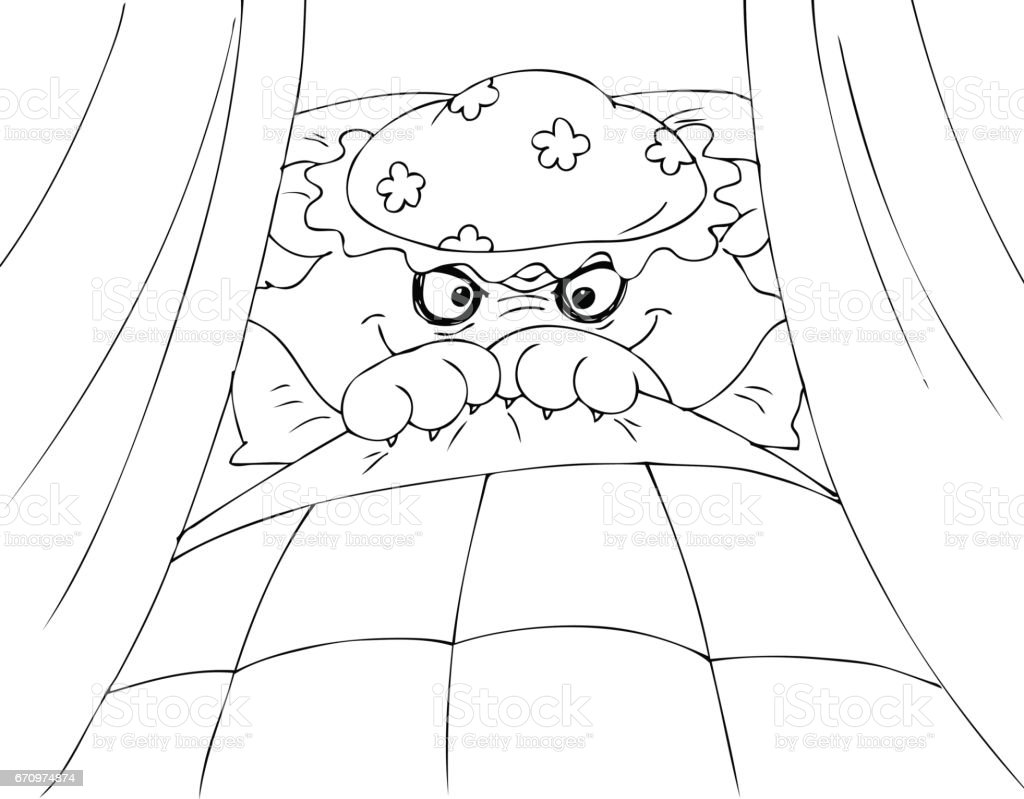 Coloring Big bad wolf in granny's bed vector vector art illustration