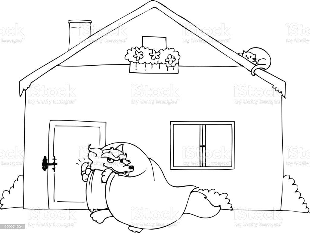 Büyük Kötü Kurt Vektör çalıyor Boyama Stok Vektör Sanatı Animasyon