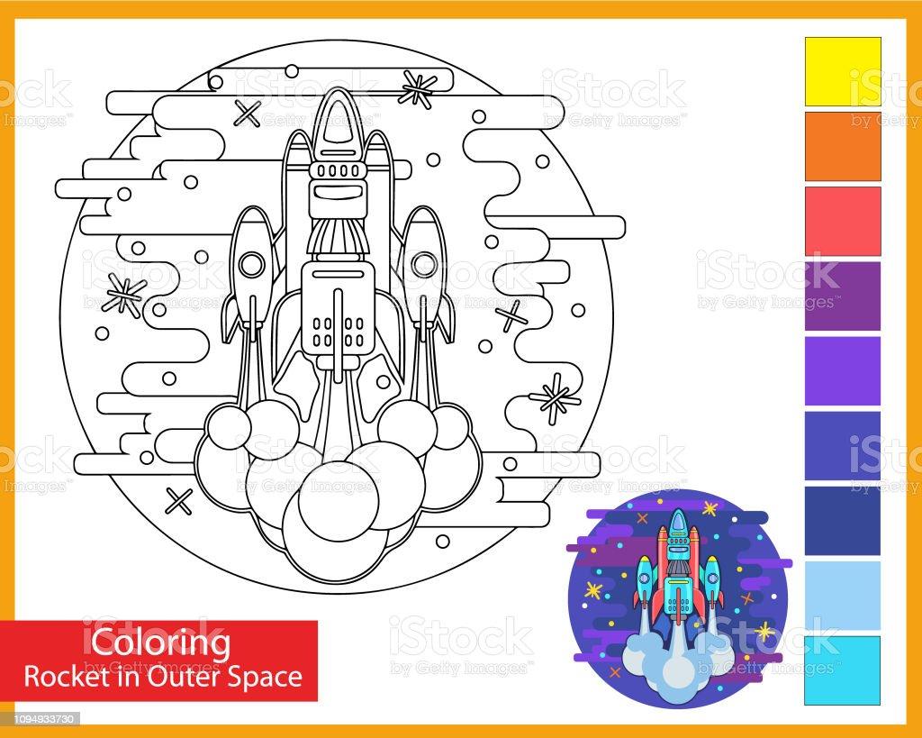 Uzayda Buyuk Roket Boyama Cocuk Sanat Oyunu Cocuklar Icin Cizgi