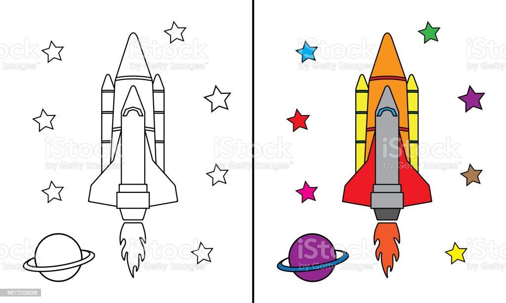 Büyük Roket Alanı Boyama Stok Vektör Sanatı Animasyon Karakternin