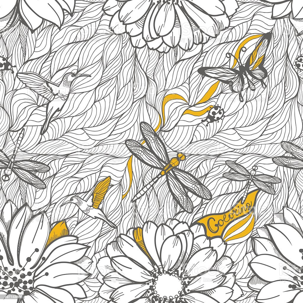 Coloring black and white seamless pattern of leaves vector art illustration