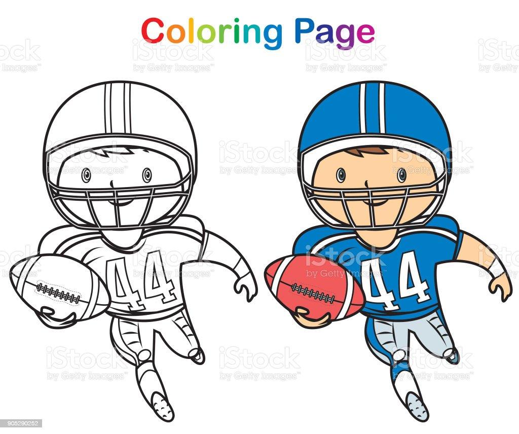 Ilustración De Libro De Colorear Jugador De Fútbol Americano