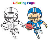 Vector Coloring book: African American football player