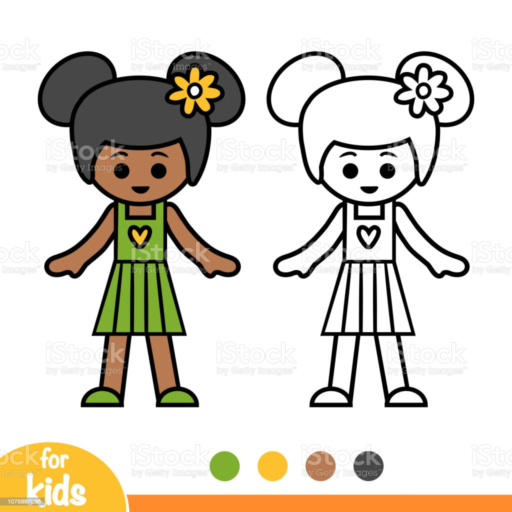 - Coloring Book African American Girl Stock Illustration - Download Image Now  - IStock