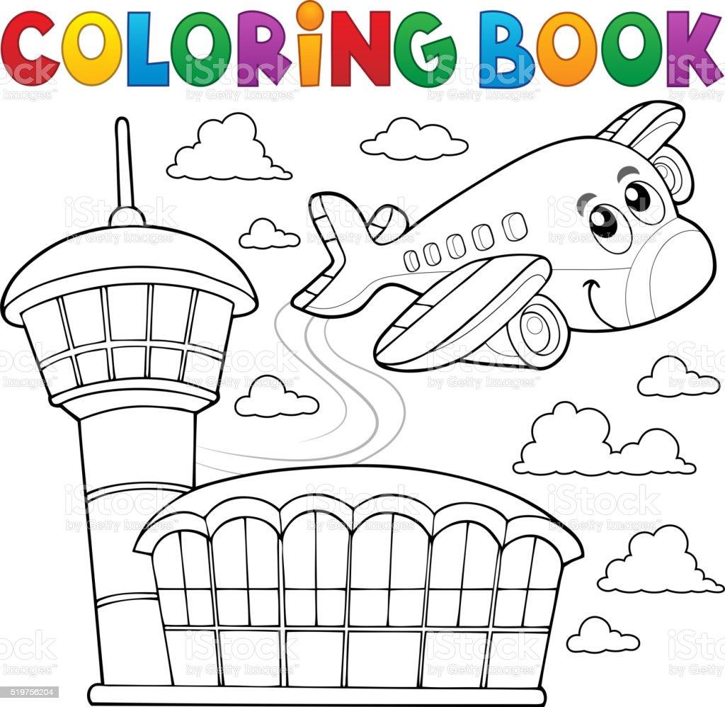 Ilustración de Libro Para Colorear Avión Tema 3 y más banco de ...