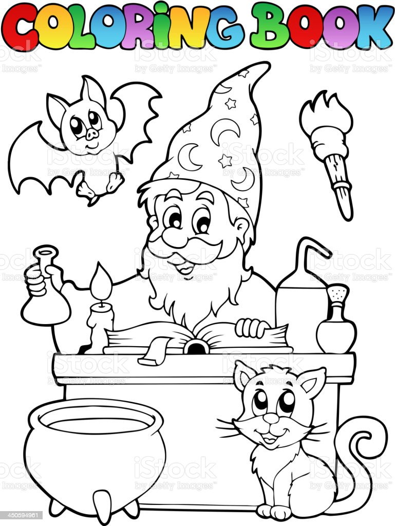 Coloring book alchemist theme 1 royalty-free stock vector art