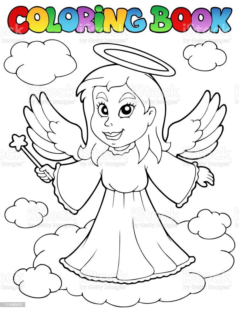 Libro Para Colorear ángel Tema Imagen 1 - Arte vectorial de stock y ...