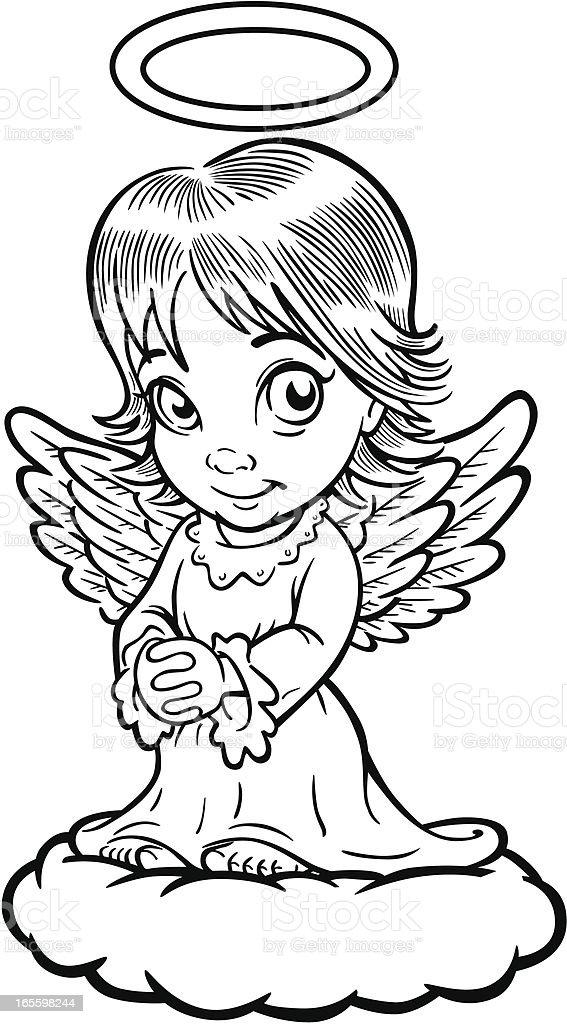 Libro para colorear Angel ilustración de libro para colorear angel y más banco de imágenes de ala de animal libre de derechos