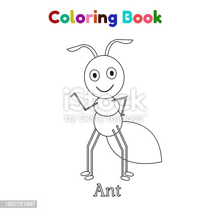 istock Coloring Book Ant For Kid Cartoon Illustration Vector 1302751697