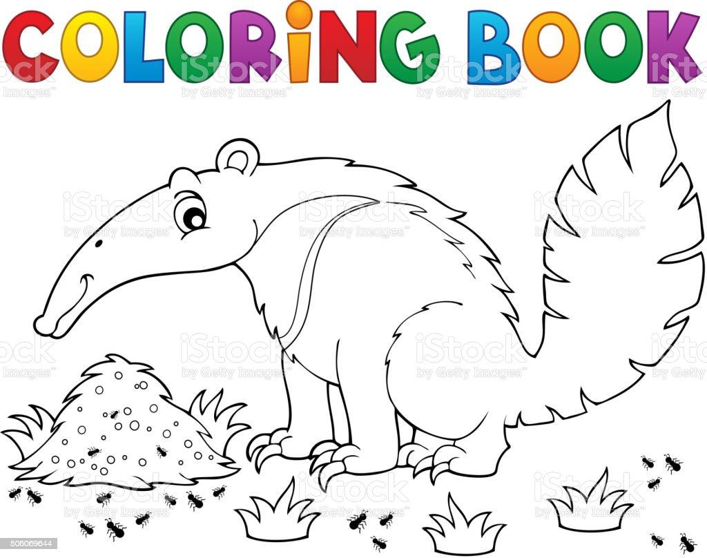 Ilustración De Libro Para Colorear Oso Hormiguero Tema 1 Y Más Vectores Libres De Derechos De Almohadillas Pata De Animal