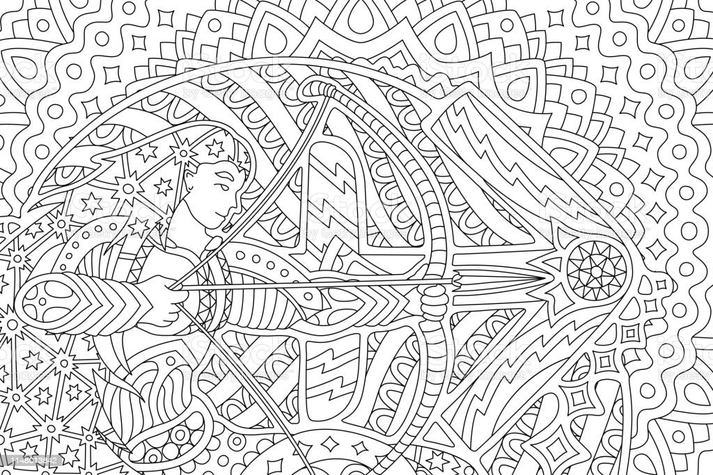 - Coloring Book Art With Saggitarius And Zodiac Sign Stock Illustration -  Download Image Now - IStock