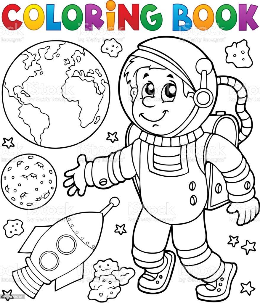 Boyama Kitabı Astronot Tema 1 Stok Vektör Sanatı Adamlarnin Daha