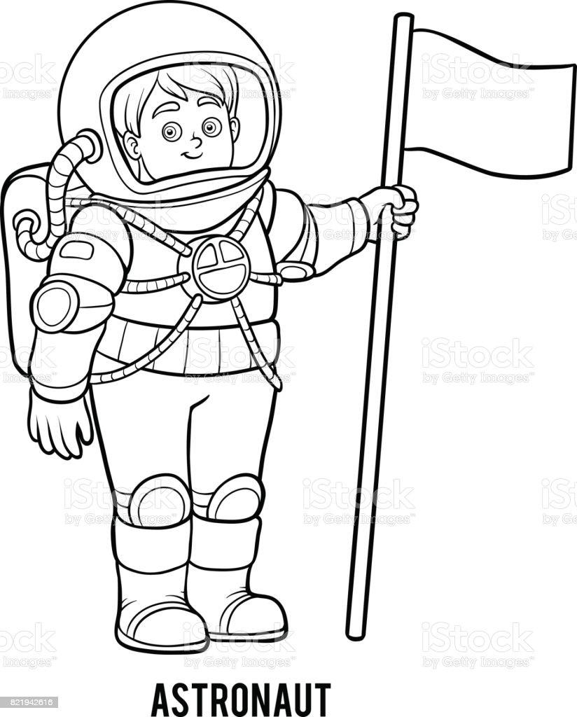 Boyama Kitabi Astronot Stok Vektor Sanati Anaokulu Nin Daha