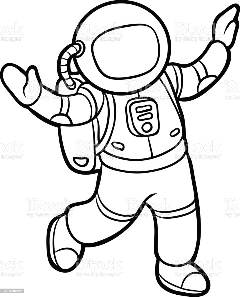 Coloring Book Astronaut Stock Illustration