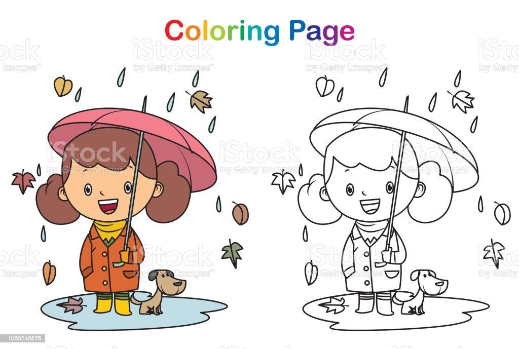 Ilustración de Libro Para Colorear El Otoño Y La Niña y más banco de ...