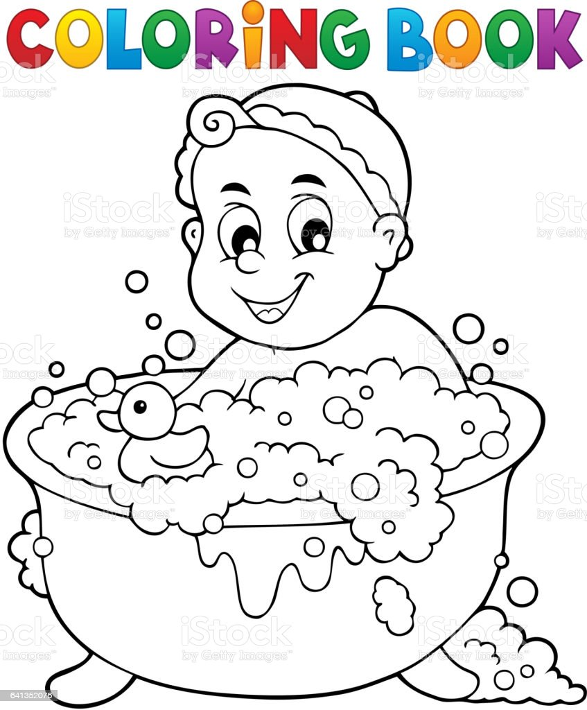Boyama Kitabi Bebek Tema Goruntusu 3 Stok Vektor Sanati Banyo