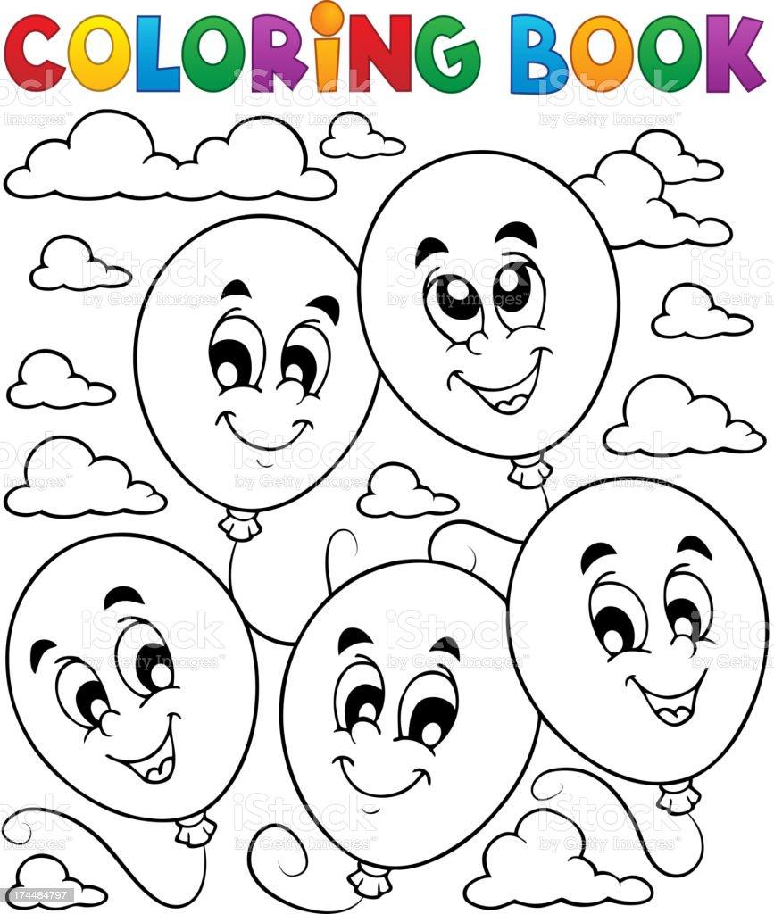Ilustración De Libro Para Colorear Globos Tema 2 Y Más Vectores