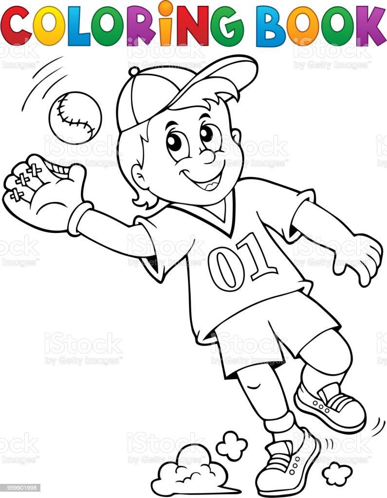 Ilustración de Tema De Jugador De Béisbol Para Colorear Libro 1 y ...