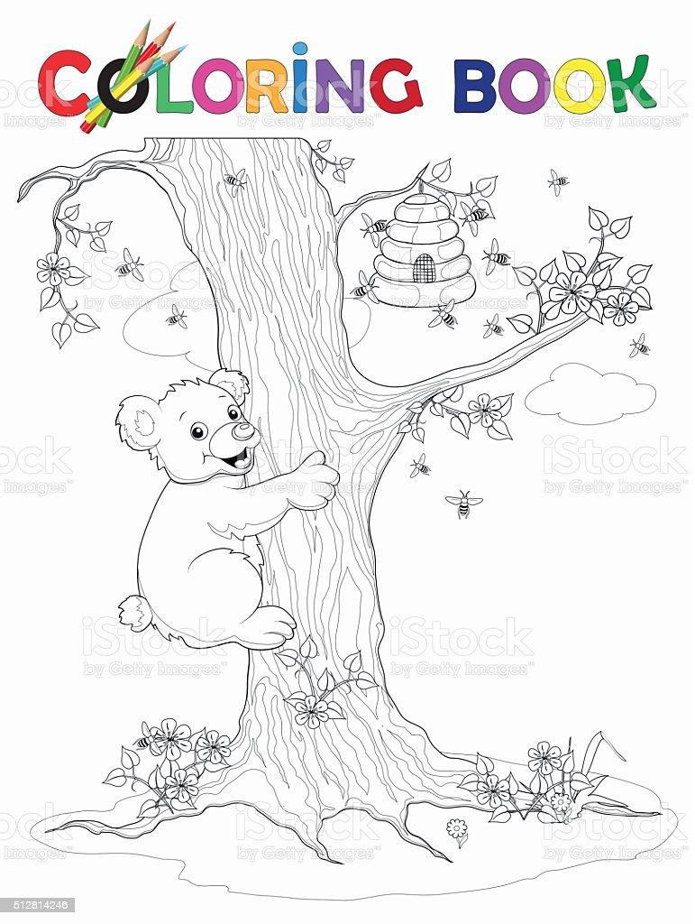 Malbuch Bär Routen der Baum, der Honig Topf – Vektorgrafik