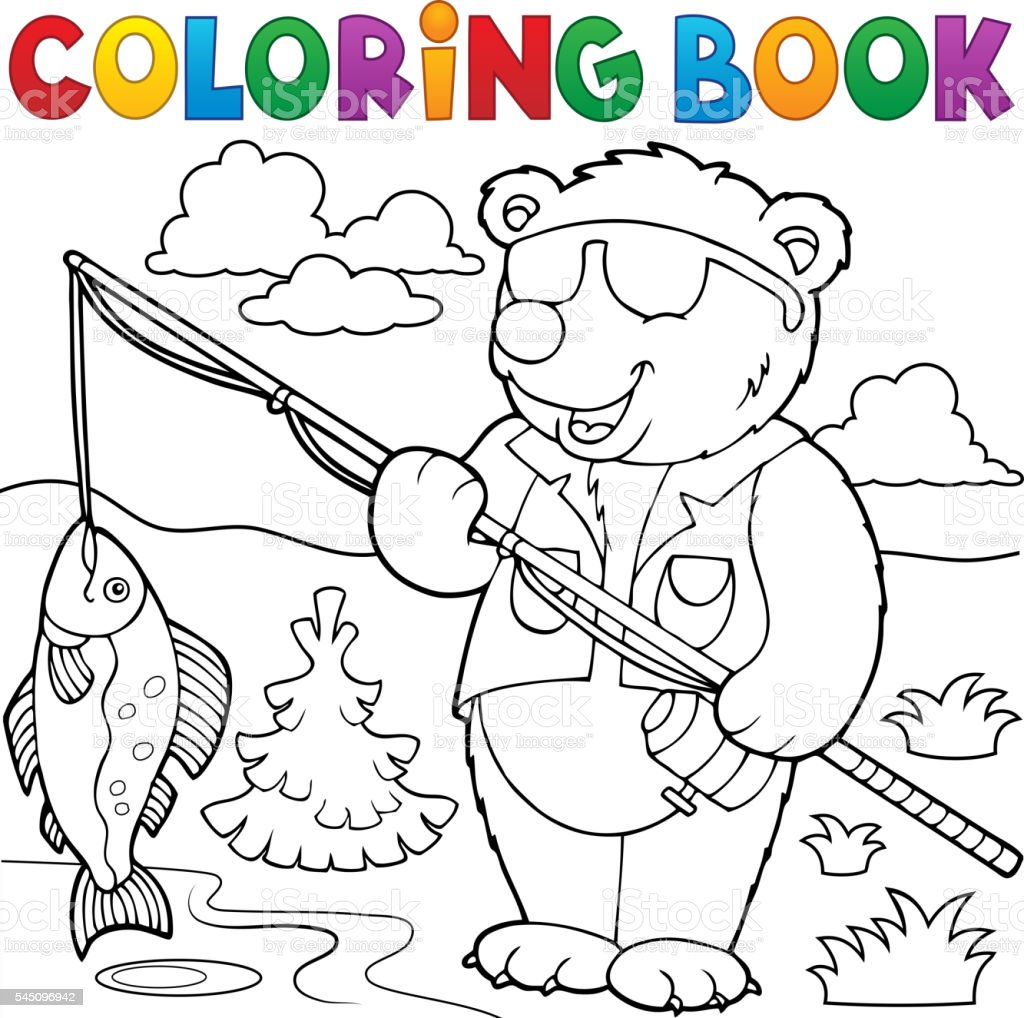 Coloring Book Bear Fisherman Theme 1 Royalty Free Stock Vector Art