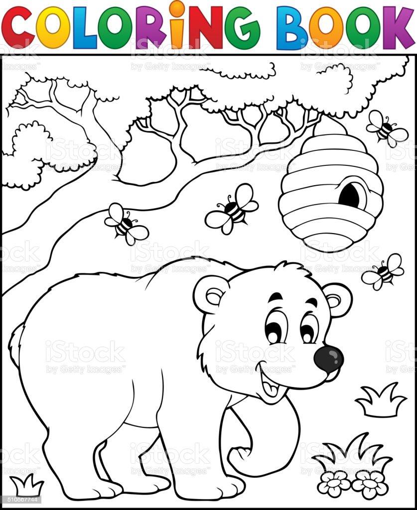 Libro Para Colorear Oso De Tema 3 - Arte vectorial de stock y más ...
