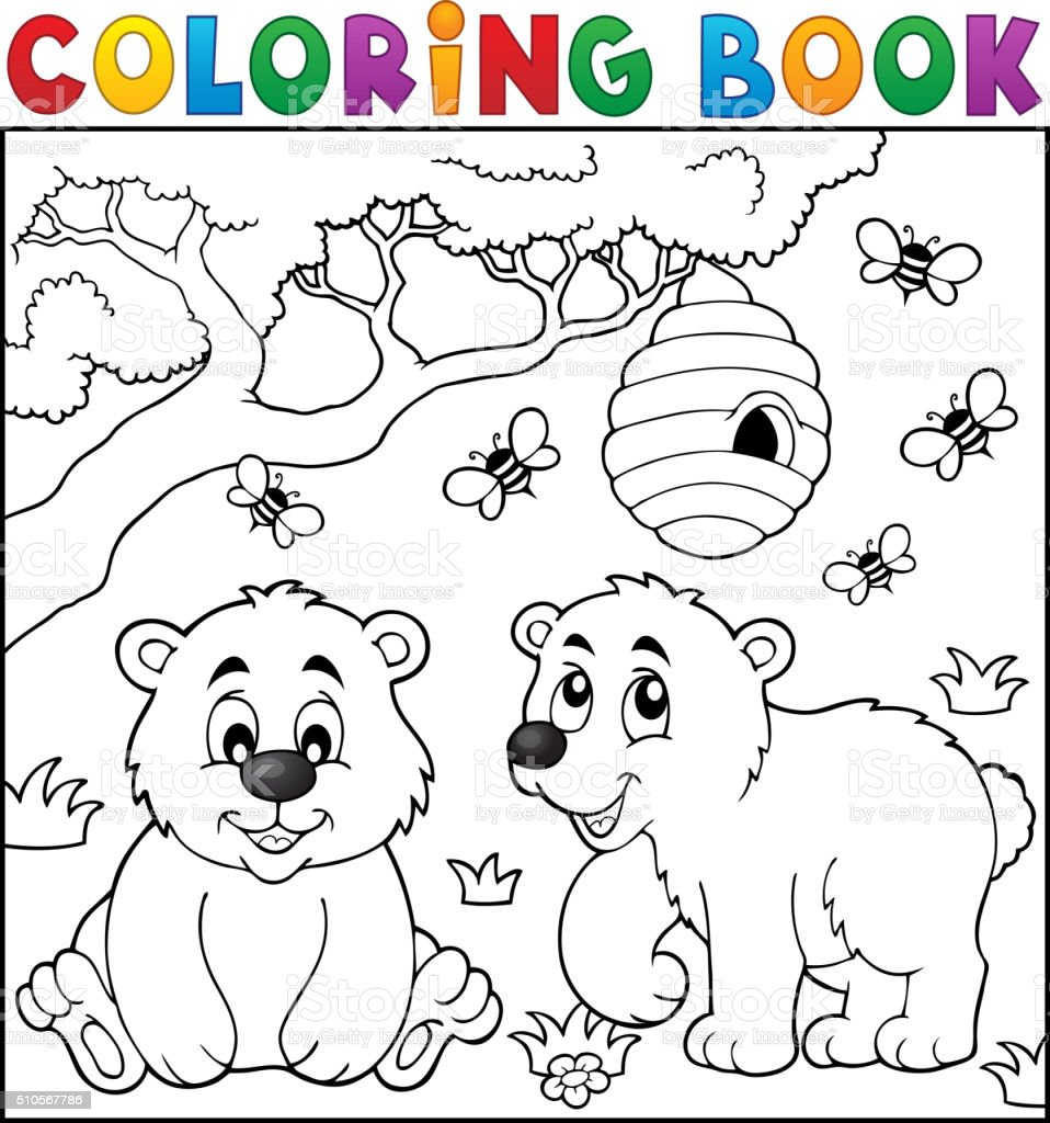 Coloring book bear theme 4 vector art illustration