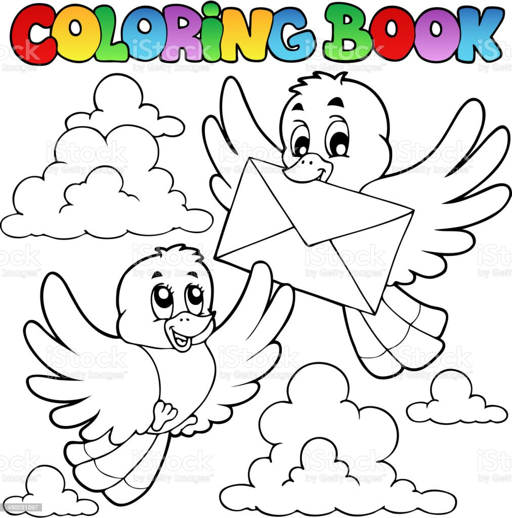 Coloring Book Birds With Envelope stock vector art 450231397 | iStock
