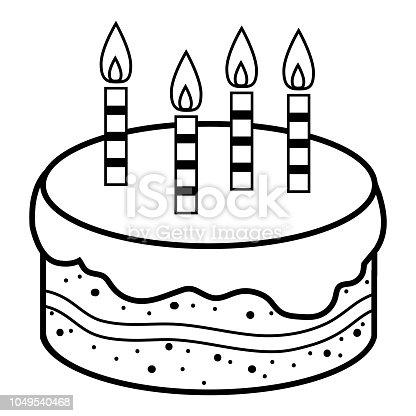 Boyama Kitabı Doğum Günü Pastası Stok Vektör Sanatı Anaokulunin