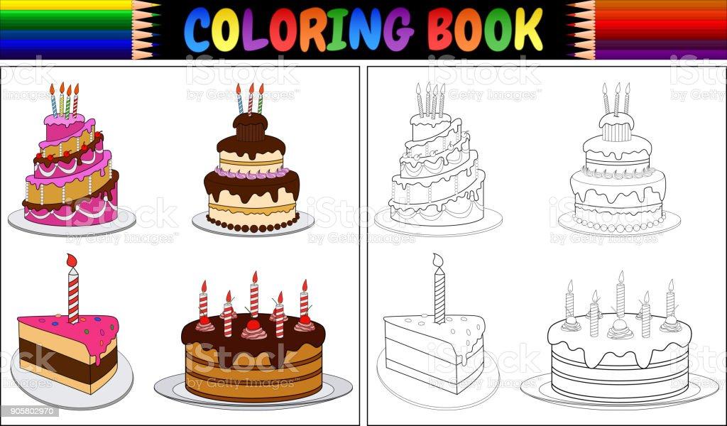 Ilustración de Pastel De Cumpleaños De Libro Para Colorear Con Velas ...