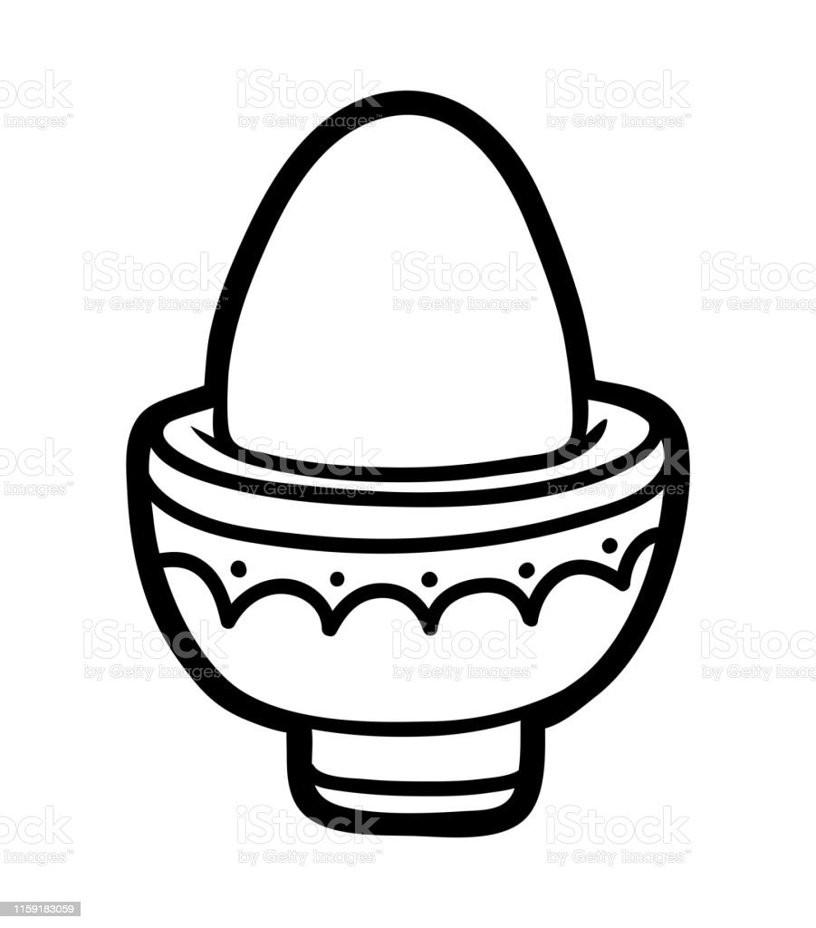 Coloring Book Boiled Egg In Eggcup Stock Illustration Download