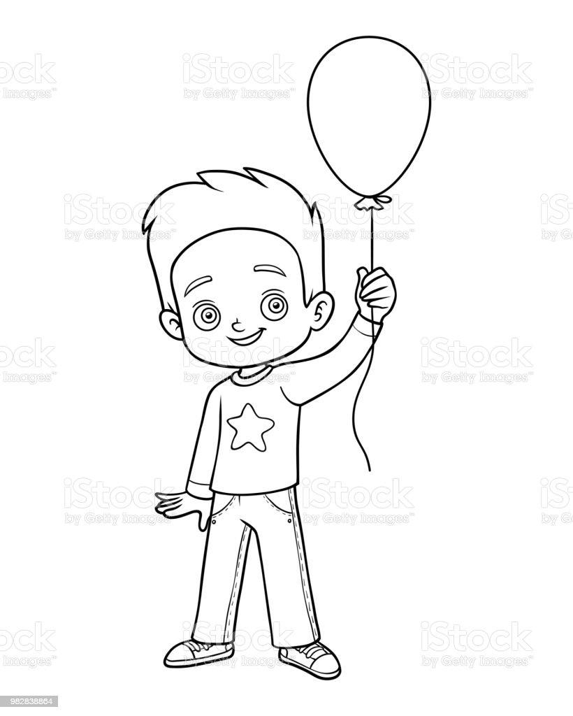Livre De Coloriage Garcon Et Ballon Vecteurs Libres De Droits Et Plus D Images Vectorielles De Ballon De Baudruche Istock