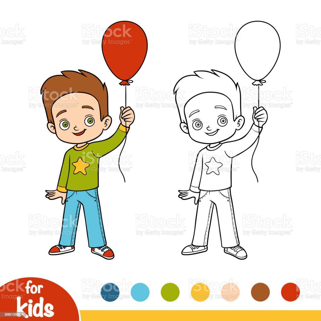 Boyama Kitabı çocuk Ve Balon Stok Vektör Sanatı Anaokulunin Daha