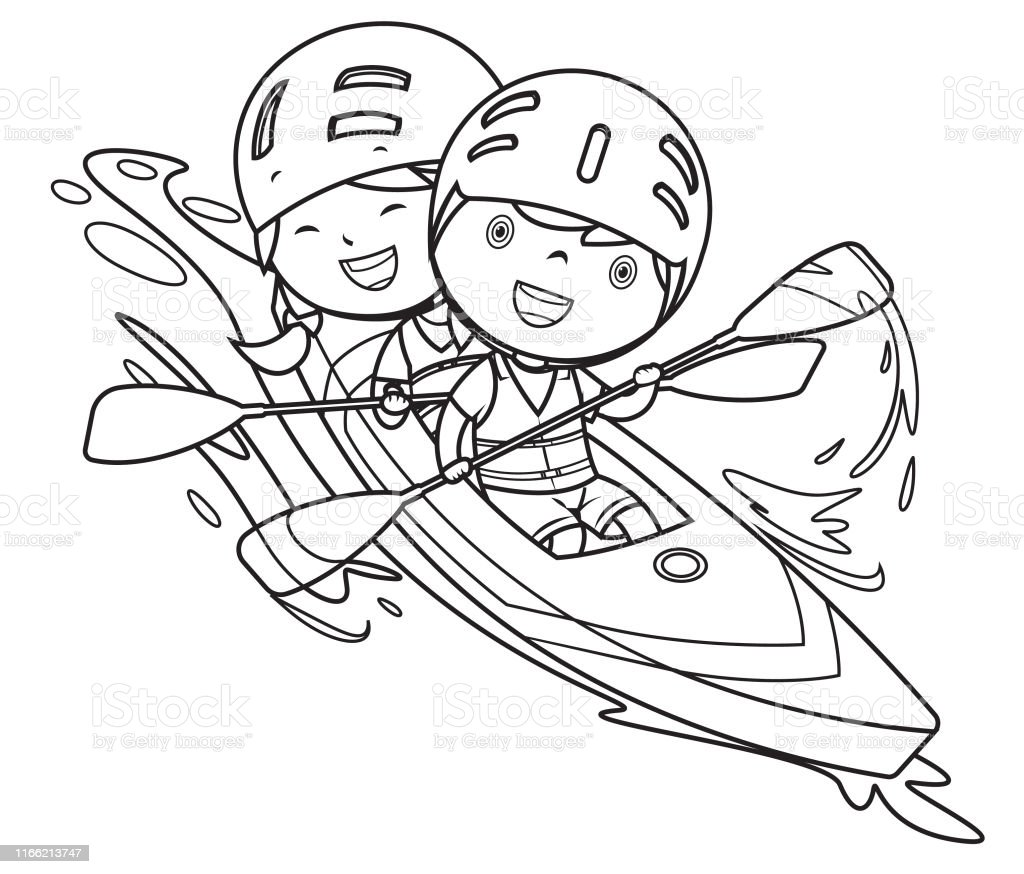 Vector coloring Book, Boy and girl with canoe
