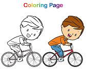 Vector Coloring book: boy bicycle