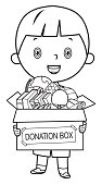 Vector Coloring Book, Boy holding donate box with books, pencils and toys