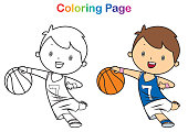 Coloring book: boy playing basketball