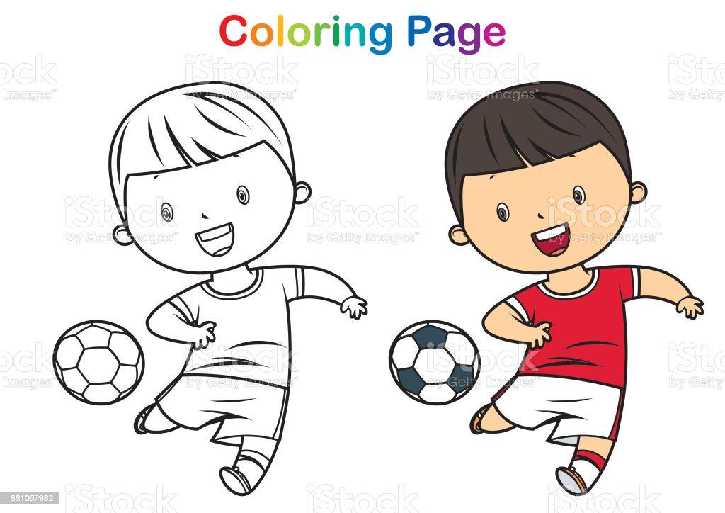 Ilustración de Libro De Colorear Niño Jugando Al Fútbol y más banco ...
