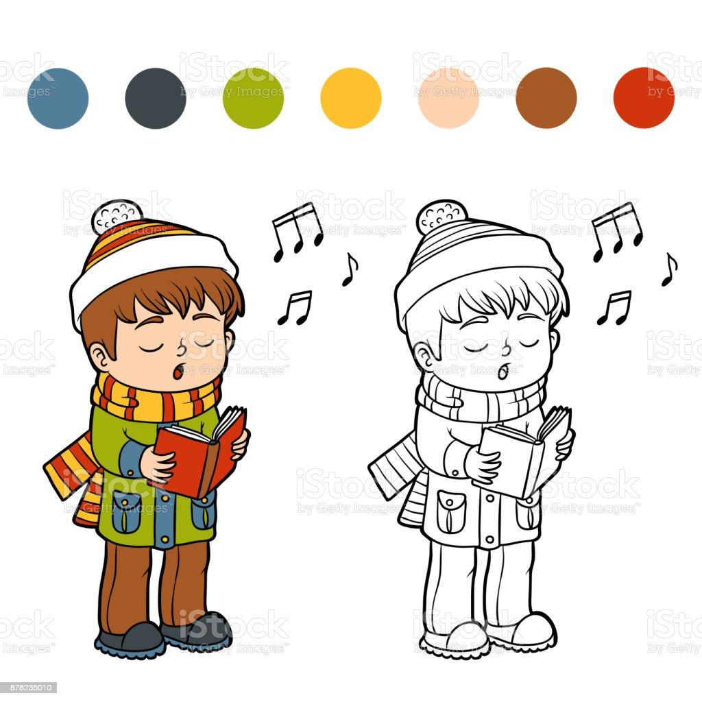 Ilustración de Libro Para Colorear Niño Cantando Una Canción De ...