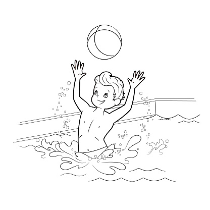 Coloring book: boy swimmer playing ball in the pool of water. Vector illustration in cartoon style, black and white line art for children on the theme of sports