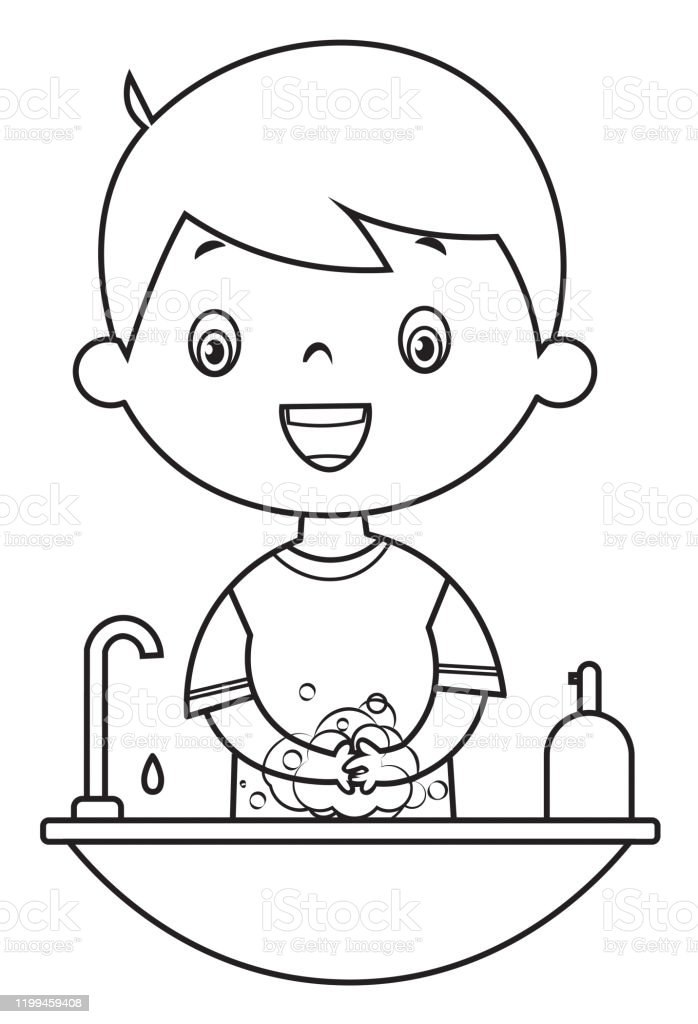 Ilustracion De Libro Para Colorear Nino Lavando Las Manos Y Mas