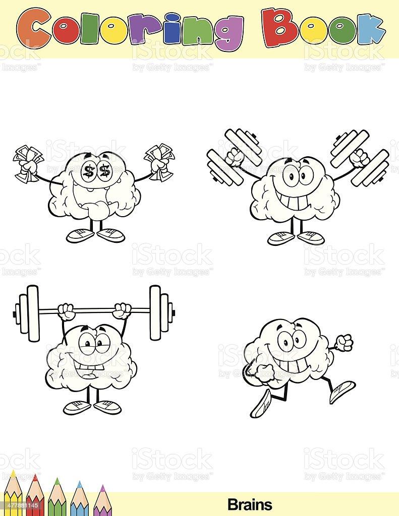 Ilustración De Libro Para Colorear Cerebro Personaje De