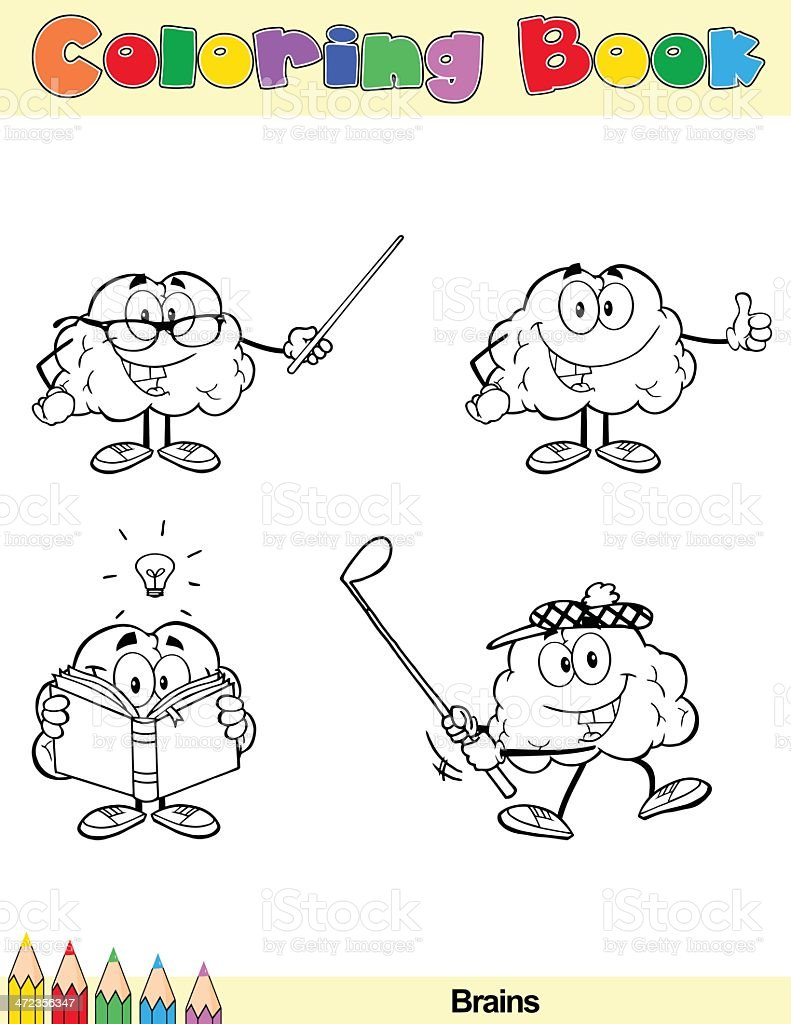 Coloring Book Brain Cartoon Character 6 royalty-free coloring book brain cartoon character 6 stock vector art & more images of book