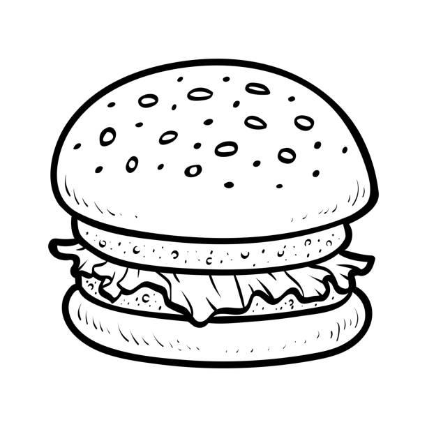 Coloring book, Burger Coloring book for children, Burger cheeseburger stock illustrations