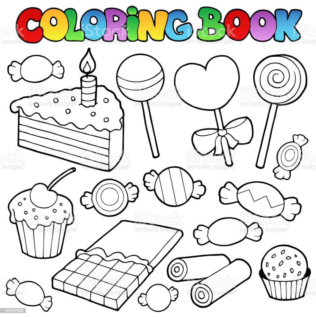 Coloring Book Candy And Cakes Stock Vector Art & More Images of ...
