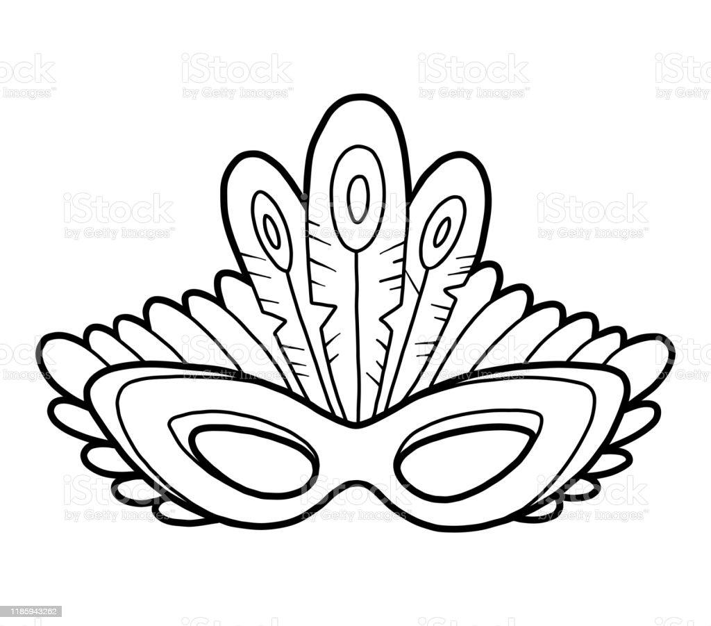 Livre De Coloriage Masque De Carnaval Avec Des Plumes De Paon Vecteurs Libres De Droits Et Plus D Images Vectorielles De Accessoire Istock