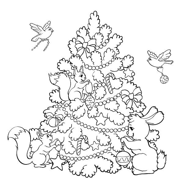coloring book cartoon animals decorate the christmas tree vector art illustration - Coloring Book Cartoons